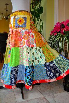 Sunflower Pocket Gypsy Hippie Patchwork Skirt by OrawanP on Etsy, $79.99
