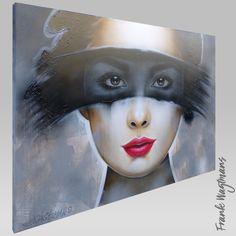 """Wilt u een handgeschilderd modern schilderij kopen met de kleuren zwart, wit, grijs? Schilderij """"Tonight"""" (100x140cm) is een bijzonder portret dat volledig is opgebouwd uit vele lagen acrylverf. Geef uw interieur meer sfeer door een mooi exclusief schilderij op te hangen! Kunstenaar Frank Wagtmans is bekend om zijn unieke schildersstijl en grote handgemaakte portretten. Bezoek de website voor meer inspiratie!"""