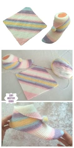 Super Easy Knit Slippers From Square Free Knitting Pattern - Video - Brome Fields amigurumi crochet knitting bordado handmade knit love diy cool creativity Love Knitting, Knitting Kits, Easy Knitting, Knitting Patterns Free, Crochet Patterns, Amigurumi Patterns, American Girl Doll Shoes, Knitted Slippers, Love Crochet