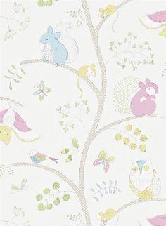 Tiere des Waldes - Kindertapete von Sanderson - Pink/ Blau