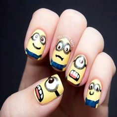 Check out this Cute Minions Nail Art ! Now you can impress your friends and all Minions fans. Love Nails, How To Do Nails, Fun Nails, Pretty Nails, Nail Swag, Nail Art Designs, Minion Nail Art, Nagel Stamping, Chalkboard Nails