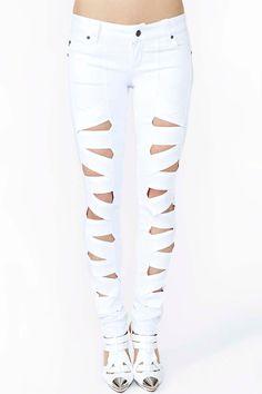 Lattice Leg Skinny Jeans - White