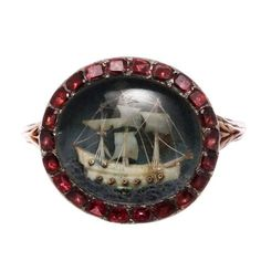 Georgian Nelson Era Micro Carved Ship Ring | From a unique collection of vintage cocktail rings at https://www.1stdibs.com/jewelry/rings/cocktail-rings/