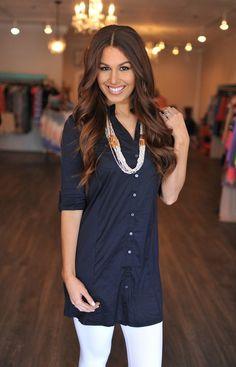 Navy Oxford Dress - Dottie Couture Boutique