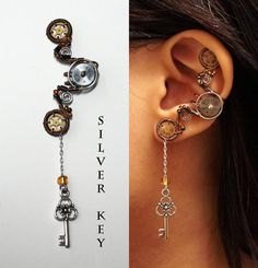 Steampunk Dangly Key Violin Horse ear cuff by Meowchee on Etsy