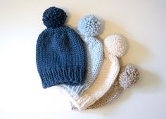 Hand Knitted Hat // Chunky Beanie With Pom Pom // by StarSeventeen