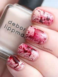 Blood Splatter nails (Halloween, True Blood, Dexter) - You take straws (I use full sized ones, cut in half), dip them into the bottle of polish & blow it onto your base color for a really cool effect! Nail Art Halloween, Halloween Zombie, Bloody Halloween, Happy Halloween, Facebook Halloween, Halloween Ideas, Zombie Costumes, Halloween Costumes, Halloween Couples