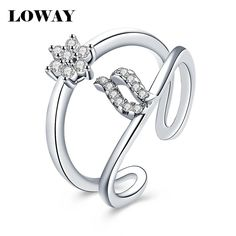 LOWAY Zircon Open Ring Female Finger Ring for Women  Elegant vintage bague anel Party Jewelry JZ6091 #Affiliate