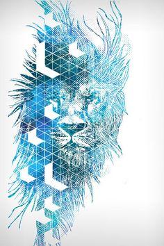 Lion Futuristic Tech Blend Vector Illustrated Design.