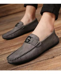 Grey leather slip on shoe loafer with G buckle Mens Loafers Shoes, Mens Slip On Shoes, Leather Slip On Shoes, Grey Leather, Leather Loafers, Loafer Shoes, Men's Shoes, Shoes Men, Dress Shoes