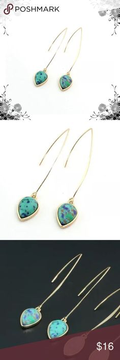 "Blue Stone Quartz Boho Drop Hook Earrings 18K Gold Plated. Approx 2.75"" in length. Bundle for discounts! Thank you for shopping my closet! Jewelry Earrings"