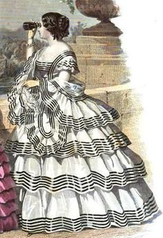 The Evolution of the Tiered Ruffle Gown – Threading Through Time 1850s Fashion, Edwardian Fashion, Vintage Fashion, Fashion Goth, French Fashion, Ladies Fashion, Historical Costume, Historical Clothing, Style Édouardien