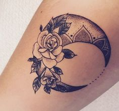 Moon and rose tattoo with some dotting detail and shading