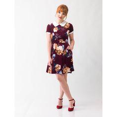 c40e9e70967 Babe Revolution Dress in Maroon Velvet + Floral Fit Flare Dress
