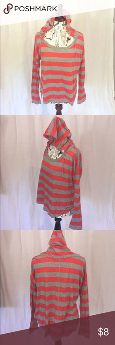 Long Sleeve Loose Fitted Nike Top Medium Gently Used super comfortable gray and coral loose Fitted long sleeve hooded Nike Top Nike Tops Tees - Long Sleeve