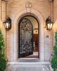 San Francisco Mansions, Front Door Design, Unique Doors, Iron Doors, Entrance Doors, Door Entryway, Doorway, Foyer, Front Entry