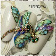 Стена 3d Nail Art, Animal Nail Art, Nail Arts, Rhinestone Nails, Bling Nails, 3d Nails, Cute Nails, Dragonfly Nail Art, Butterfly Nail Art