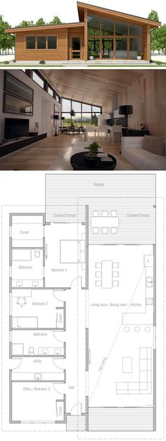 Small House Plan, Floor plan with three bedrooms, modern arc… – Architecture Ideas Small Floor Plans, Modern Floor Plans, Kitchen Floor Plans, Modern House Plans, House Floor Plans, Living Room Kitchen Layout, Small Space Interior Design, House Front Design, House Entrance