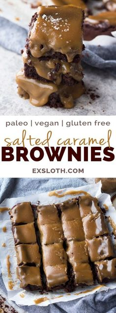 These paleo vegan salted caramel brownies are rich, fudgy and perfectly sweet (vegan, gluten-free, paleo, flourless) Paleo Vegan, Healthy Vegan Dessert, Coconut Dessert, Oreo Dessert, Vegan Dessert Recipes, Vegan Treats, Vegan Foods, Gluten Free Desserts, Paleo Recipes