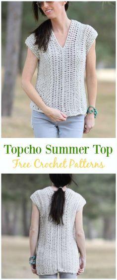 Crochet Topcho Summer Top Shirt Free Pattern -Crochet Summer Top Free Patterns