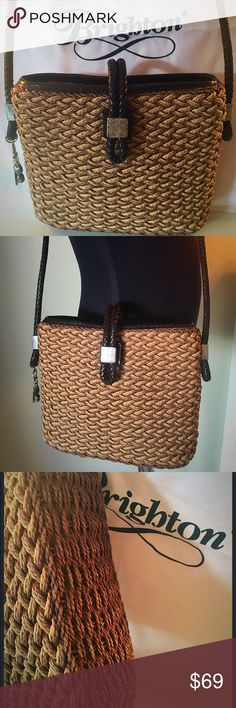 BRIGHTON SHOULDER BAG AUTHENTIC SALE PRICE IS FIRM! BRIGHTON SHOULDER BAG AUTHENTIC. SO STUNNING AND STYLISH PERFECT FOR ANY OCCASION. WHAT A WONDERFUL BAG AS YOU CAN SEE IN THE PICTURES. SO PRETTY AND ON TREND. LEATHER IS WONDERFUL AND BASKET IS STUNNING. MINOR METAL WEAR. THIS AMAZING BAG MEASURES 10 INCHES WIDE BY 8 INCHES TALL. THE STRAP IS LONG AND CAN BE USED AS SHOULDER BAG OR CROSSBODY FOR SOME. THE DROP OF THE STRAP IS 20 INCHES. IT ALSO HAS A LARGE INTERIOR WALL POCKET Brighton Bags Sh Brighton Handbags, Brighton Bags, Wall Pockets, Fashion Design, Fashion Tips, Fashion Trends, Shoulder Bags, Basket, Drop