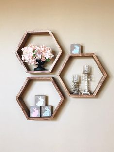 30 Ideas home decoration pictures floating shelves - baby panda bears Honeycomb Shelves, Geometric Shelves, Hexagon Shelves, Geometric Decor, Modern Floating Shelves, Modern Shelving, Decorating With Floating Shelves, Custom Shelving, Diy Hanging Shelves