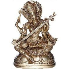 Statuette hindoue de décoration - Déesse Sarasvatî en laiton: Amazon.fr: Cuisine & Maison