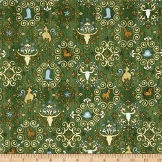 Unbridled Western Medallions Green from @fabricdotcom  Designed by Dan Morris for Quilting Treasures, this cotton print is perfect for apparel, quilting and home decor accents. Colors for the black, sark teal, dark green, brown,green, army green, teal, golden yellow, sky blue, light blue, light yellow and light green.