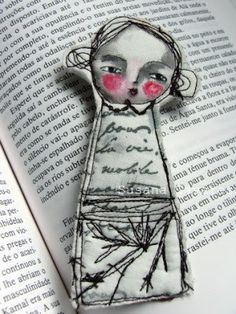 """Join 10 people right now at """"Embroidery Inspiration Brooches"""" Fabric Dolls, Fabric Art, Paper Dolls, Fabric Crafts, Sewing Crafts, Sewing Projects, Doll Painting, Thread Painting, Watercolor Painting"""