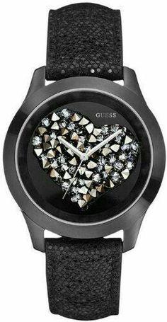 Guess reloj negro con cristales en forma de corazón.