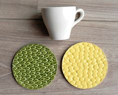 Ceramic Coasters Green and Yellow Animal Pattern Set by Ceraminic