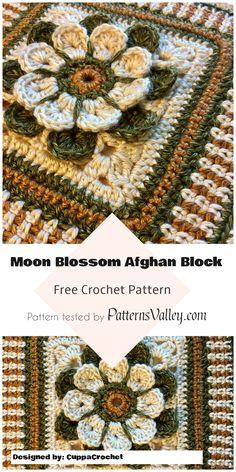 Moon Blossom Afghan Block Pattern  [Free Pattern] #MoonBlossom #crochet #AfghanBlock #crochetstitch #flowers #crochetaddict