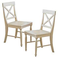Slat Back Dining Chair Chestnut Brown Set of 2 Threshold