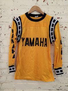 Vintage Yamaha Motorcross Jersey Size Small by HappyPigVintage Vintage Biker, Vintage Motocross, Vintage Racing, Yamaha Motocross, Motocross Shirts, Yamaha Accessories, Mx Jersey, Anti Fashion, Vintage Jerseys