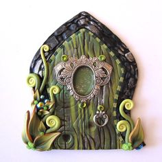 The Green Fairy Fairy Door Pixie Portal Absinthe by Claybykim, $23.00