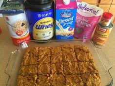 Jamie Eason's Pumpkin Protein Bars Recipe - Diary of a Fit Mommy Pumpkin Protein Bars, Vegan Protein Bars, Healthy Protein Snacks, Protein Bar Recipes, Protein Cake, Protein Powder Recipes, Protein Cookies, Protein Foods, Protein Muffins