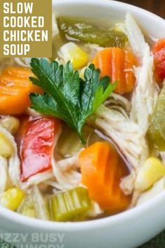 Slow Cooker Chicken Soup with veggies is the perfect healthy soup for when you are sick