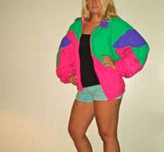1990s Hot Neon Pink Purple Windbreaker Jacket, 90s Fun Wind Breaker Zip Up on Etsy, $31.00