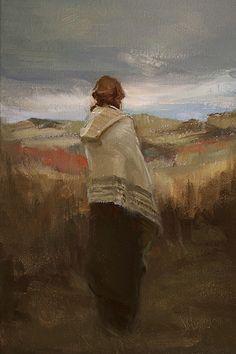 "Johanna Harmon  - Glimpse of Blue Sky, Oil on Linen ~ 12"" High x 8"" Wide"