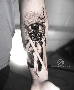 DANIEL MEYER – Professional blackwork, geometric and dotwork tattoo artist, located inLos Angeles California Astronaut Tattoo, Alien Tattoo, Dope Tattoos, Forearm Tattoos, Feather Tattoos, Body Art Tattoos, Tatoos, Space Tattoo Sleeve, Geometric Sleeve Tattoo