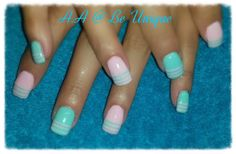 Nails done by Angelique Allegria. #pastel #pink #blue #stripes #BeUnique @angiedsa