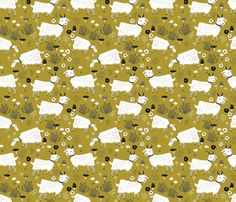 goats // golden olive mustard farm animal kids cute goat fabric fabric by andrea_lauren on Spoonflower - custom fabric