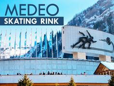 Medeo an outdoor speed skating and the bandy rink is located in a mountain valley on the south-eastern outskirts of Almaty, Kazakhstan. It is considered to be the world's largest high-mountain skating rink. Speed Skates, Skating Rink, Bandy, Central Asia, Kazakhstan, Asia Travel, Mantra, Worlds Largest, Infographics