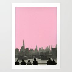 hand cut paper collage, black and white, rose pink, pastel...