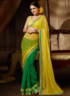Zesty Green And Yellow Half And Half Saree