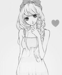 manga cute black and white girl - Google Search