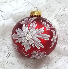 Black Christmas Ornament with Hand Painted door MargotTheMUDLady