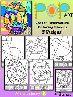 Let your students have som fun this Easter with these fun interactive pop art coloring sheets! These are a huge hit and the kids really have to think about their designs.I've included a bonus sheet with patterns already filled in as well!