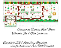 Christmas Bubbles Green Red Facebook Timeline by LuziEllisGraphics Printed Ribbon, Facebook Timeline, Fb Covers, Collage Sheet, Circles, Banners, Avatar, Custom Design, Bubbles
