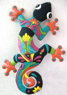 "12"" x 18"" - Orange & Turquoise Painted Metal Gecko Wall Decor    -  See more colorful tropical designs at www.TropicAccents.com"